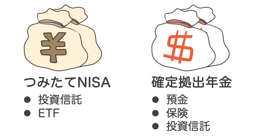 確定拠出年金:積み立てNISAとの違い:商品