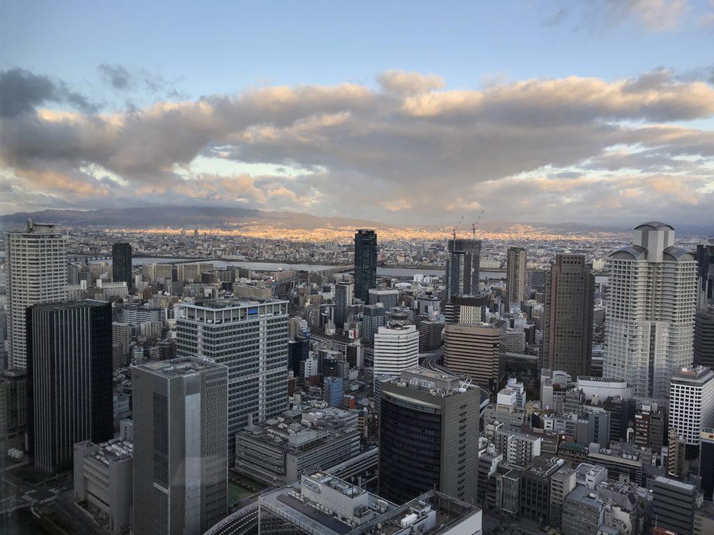 コンラッド大阪から見える朝焼け