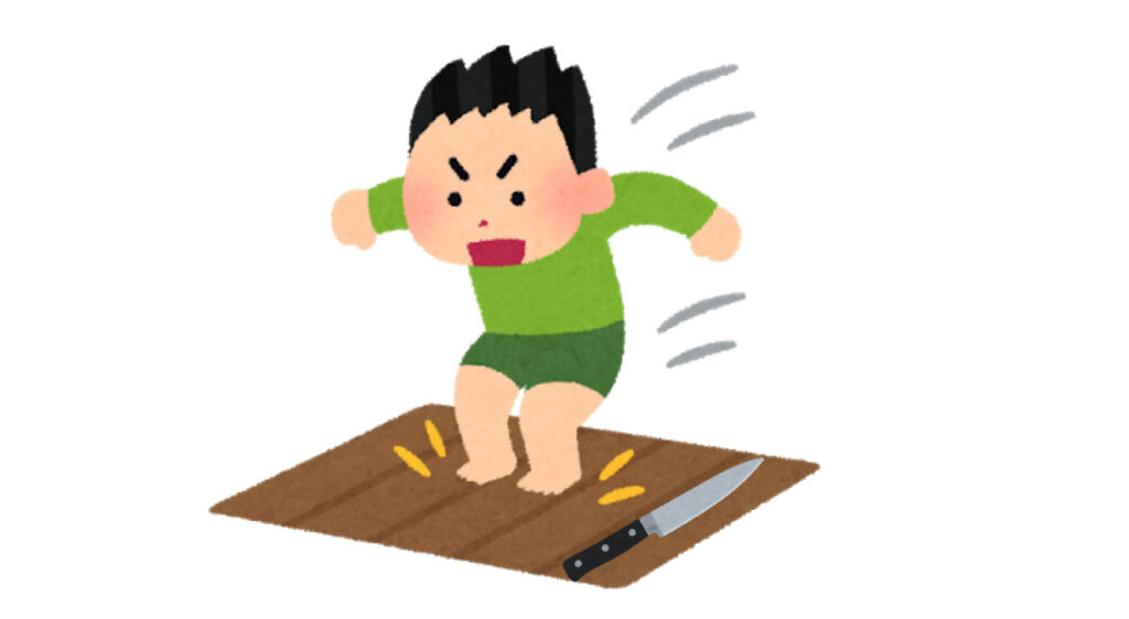 落ちるナイフ:床が見える