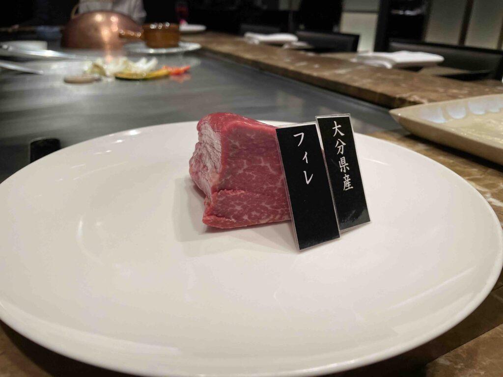 銀杏の鉄板焼きのメインフィレ肉