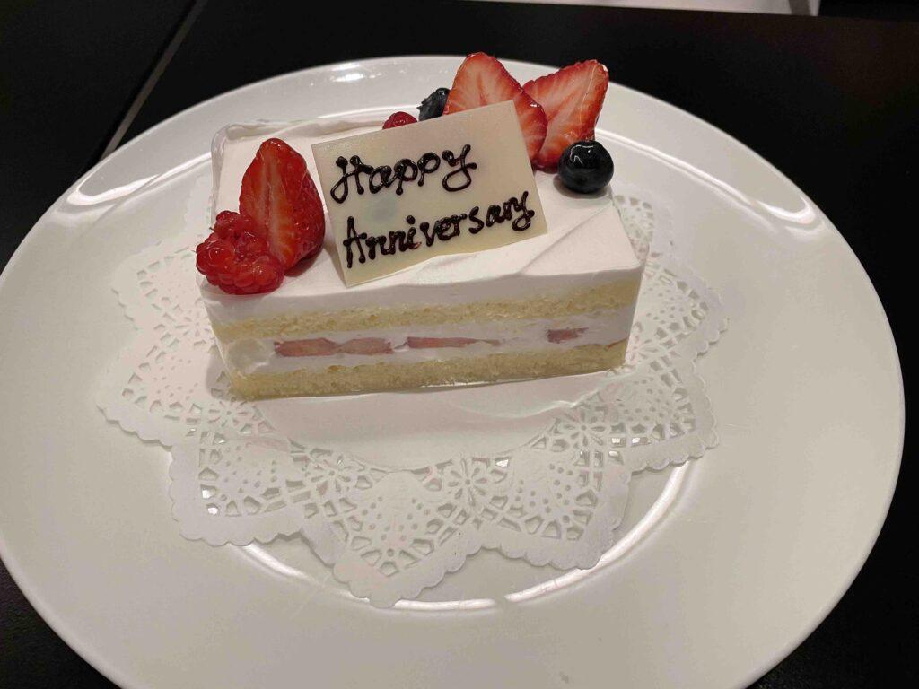 銀杏でお祝いのケーキ