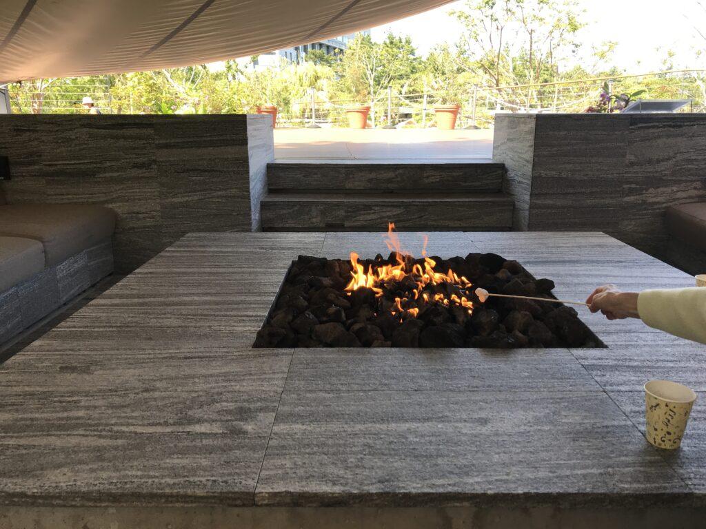 シェラトン宮崎のリビングガーデン:焚き火でマシュマロ