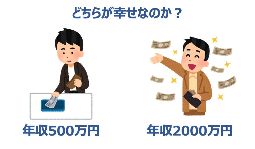 年収500万円と2000万円でどちらが幸せか